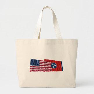 Banderas que agitan de Estados Unidos y de Tenness Bolsas De Mano
