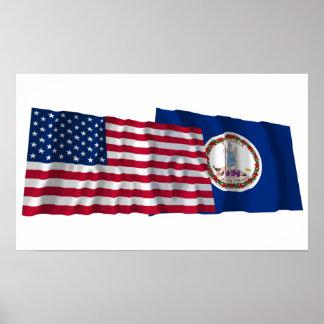 Banderas que agitan de Estados Unidos y de Virgini Impresiones