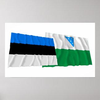 Banderas que agitan de Estonia y de Valga Poster