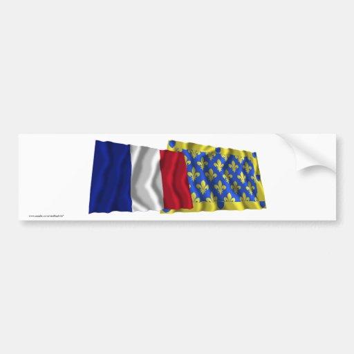 Banderas que agitan de Francia y de Ardèche Pegatina Para Auto