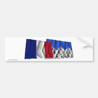 Banderas que agitan de Francia y de Côtes-d Armor Etiqueta De Parachoque