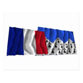 Banderas que agitan de Francia y de Côtes-d'Armor Postal