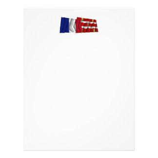 Banderas que agitan de Francia y de Deux-Sèvres Membrete A Diseño