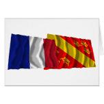 Banderas que agitan de Francia y de Haut-Rhin Felicitaciones