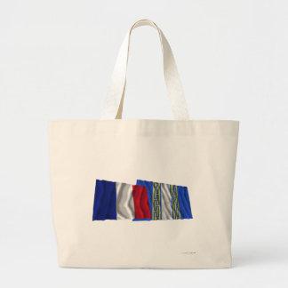 Banderas que agitan de Francia y de Haute-Marne Bolsas De Mano