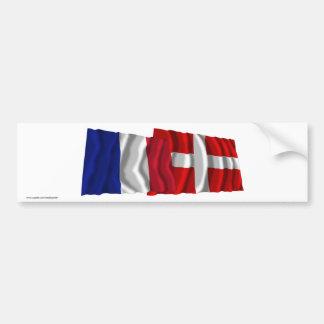 Banderas que agitan de Francia y de Haute-Saboya Pegatina Para Auto