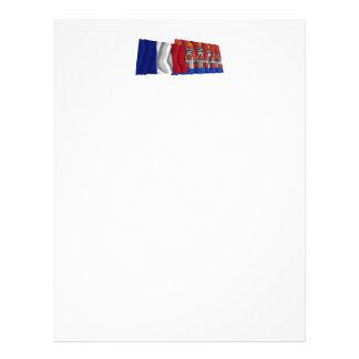 Banderas que agitan de Francia y de la porción Plantillas De Membrete