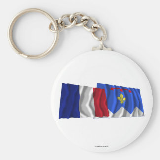 Banderas que agitan de Francia y de Llavero Redondo Tipo Pin