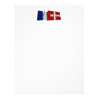 Banderas que agitan de Francia y de Saboya Membrete