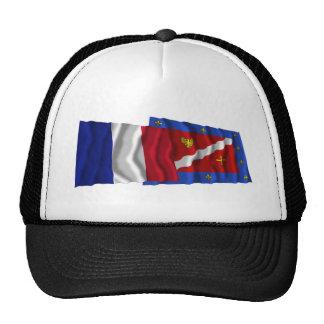 Banderas que agitan de Francia y de Val-d'Oise Gorros Bordados
