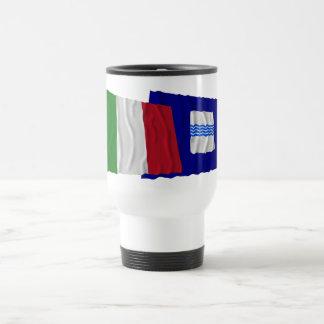 Banderas que agitan de Italia y de Basilicata Taza De Viaje De Acero Inoxidable