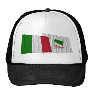 Banderas que agitan de Italia y de Emilia-Romagna Gorros