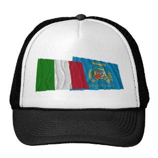 Banderas que agitan de Italia y de Lazio Gorro