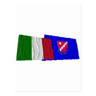Banderas que agitan de Italia y de Molise Postal