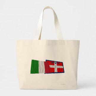 Banderas que agitan de Italia y de Piemonte Bolsa