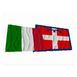 Banderas que agitan de Italia y de Piemonte Postal