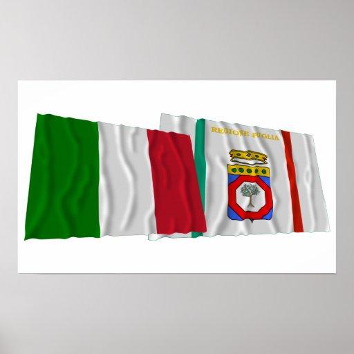 Banderas que agitan de Italia y de Puglia Póster