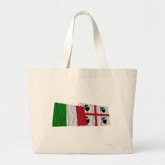 Banderas que agitan de Italia y de Sardegna Bolsa Tela Grande