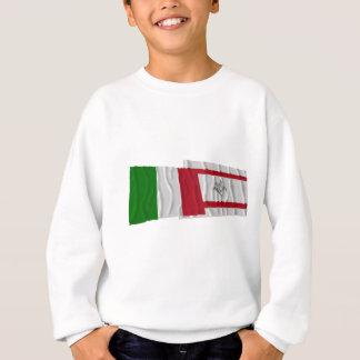 Banderas que agitan de Italia y de Toscana Sudadera