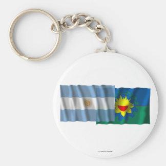 Banderas que agitan de la Argentina y de Buenos Ai Llaveros