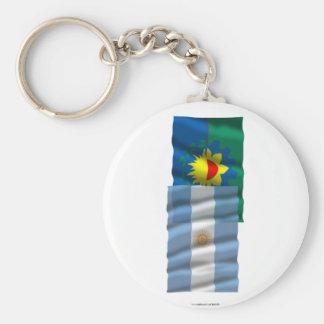 Banderas que agitan de la Argentina y de Buenos Ai Llaveros Personalizados