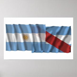 Banderas que agitan de la Argentina y de Entre Río Poster