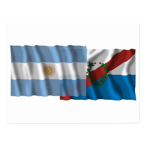 Banderas que agitan de la Argentina y de La Rioja Postal