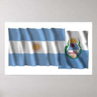 Banderas que agitan de la Argentina y de Mendoza Poster
