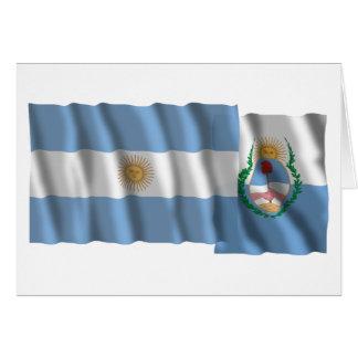 Banderas que agitan de la Argentina y de Mendoza Tarjeta