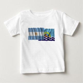 Banderas que agitan de la Argentina y de Santa T Shirts