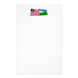 Banderas que agitan de Liberia y del condado Papeleria