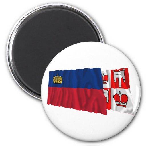 Banderas que agitan de Liechtenstein y de Vaduz Imán Redondo 5 Cm