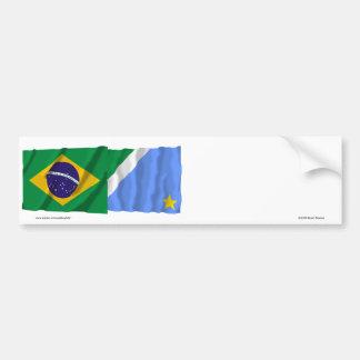 Banderas que agitan de Mato Grosso del Sur y del Pegatina Para Auto