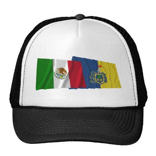 Banderas que agitan de México y de Jalisco Gorra