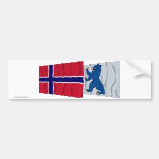 Banderas que agitan de Noruega y de Buskerud Etiqueta De Parachoque