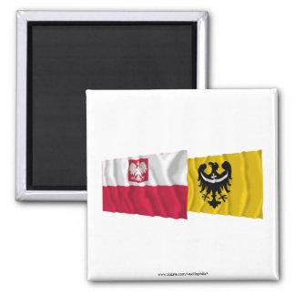 Banderas que agitan de Polonia y de Dolnośląskie Imanes
