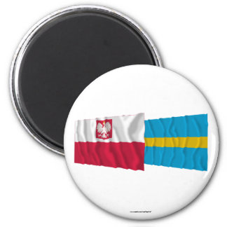 Banderas que agitan de Polonia y de Śląskie Imán De Nevera