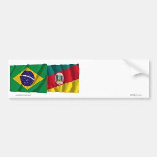 Banderas que agitan de Río Grande del Sur y del Pegatina Para Auto