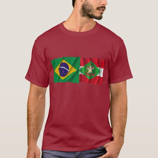 Banderas que agitan de Santa Catarina y del Brasil Playera