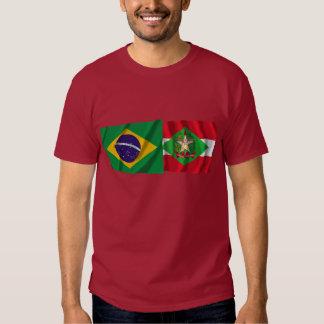 Banderas que agitan de Santa Catarina y del Brasil Playeras