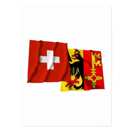 Banderas que agitan de Suiza y de Ginebra Postal
