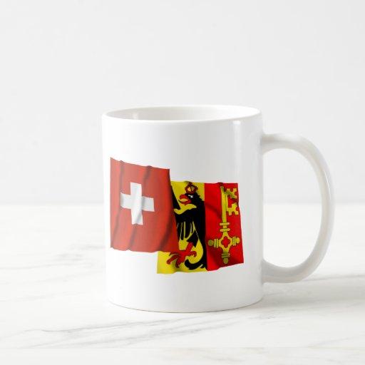 Banderas que agitan de Suiza y de Ginebra Taza De Café