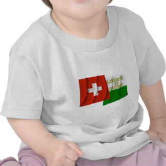 Banderas que agitan de Suiza y de Vaud Camiseta
