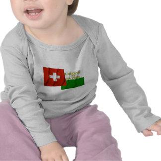 Banderas que agitan de Suiza y de Vaud Camisetas
