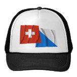 Banderas que agitan de Suiza y de Zurich Gorras