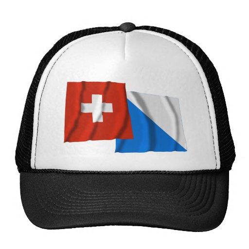 Banderas que agitan de Suiza y de Zurich Gorras De Camionero