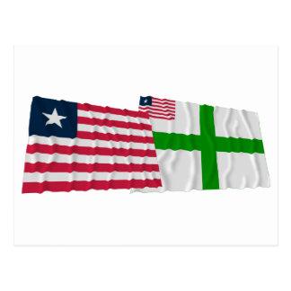Banderas que agitan del condado de Liberia y de Postales