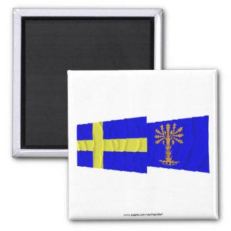 Banderas que agitan del län de Suecia y de Bleking Imán Cuadrado
