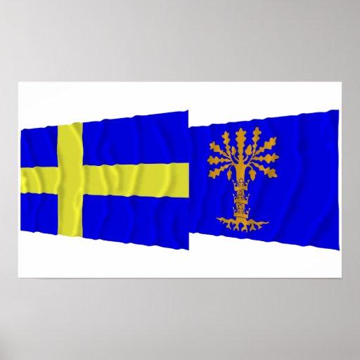 Banderas que agitan del län de Suecia y de Bleking Poster