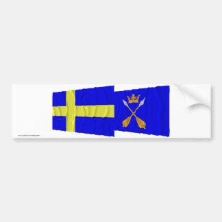 Banderas que agitan del län de Suecia y de Dalarna Pegatina De Parachoque